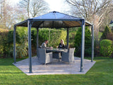 Palram - HG9160 - Monaco 15' x 13' Hexagon Garden Gazebo - Grey/Bronze - Poly-Tex