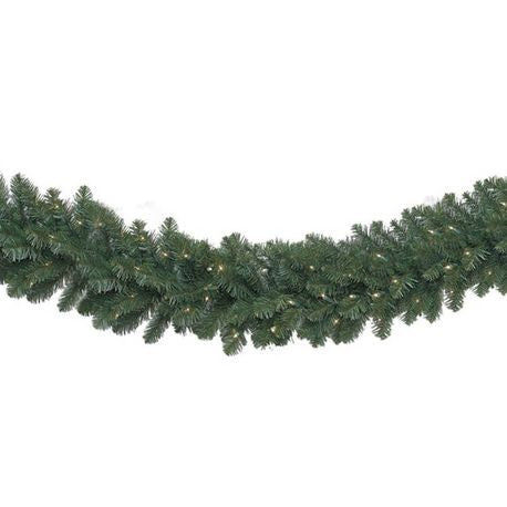 "Seasonal Source - LEDGAR-914-H - Pre-Lit LED Deluxe Oregon Fir Garland, 9' X 14"", 100 Warm White LED Lights High Quality"