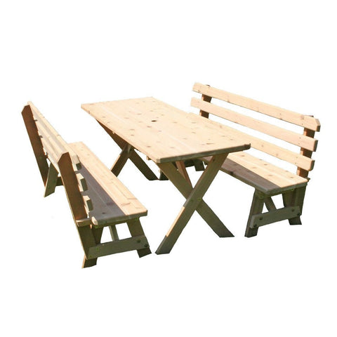 Creekvine Designs - Creekvine Designs, Cedar 27 Inch Wide Cross Legged Picnic Table with Backed Benches - 4 Foot Table with (2) 4 Foot Backed Benches - Outdoor Living  - Yard Outlet