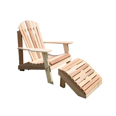 Creekvine Designs - Creekvine Designs, Cedar American Forest Adirondack Chair & Footrest Set - Default Title - Outdoor Living  - Yard Outlet