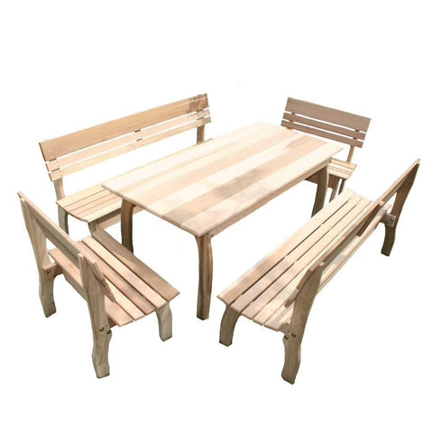 Creekvine Designs - Creekvine Designs, Cedar Chickadee Dining Set - 46 x 32 Table with (4) Benches - Outdoor Living  - Yard Outlet - 1