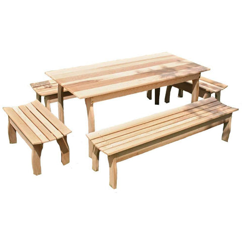 Creekvine Designs - Creekvine Designs, Cedar Family Dining Set Table with (4) Benches - 46 x 32 - Outdoor Living  - Yard Outlet