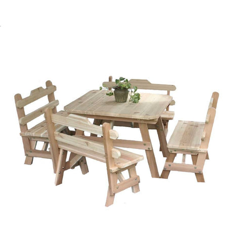 Creekvine Designs - Creekvine Designs, Cedar Four Square Dining Set - Default Title - Outdoor Living  - Yard Outlet