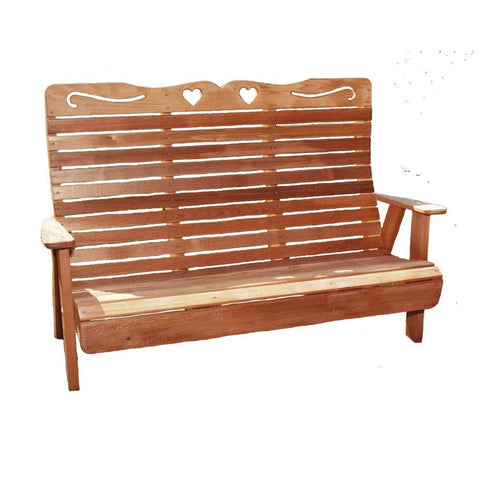 Creekvine Designs - Creekvine Designs, Cedar Royal Country Hearts Garden Bench - 4 Foot Bench - Outdoor Living  - Yard Outlet