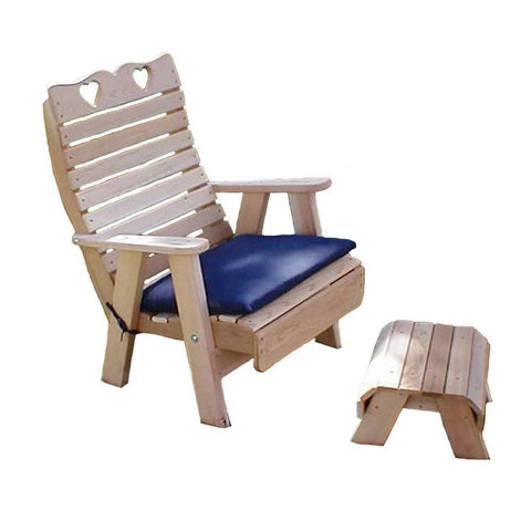 Creekvine Designs - Creekvine Designs, Cedar Royal Country Hearts Patio Chair & Footrest Set - Default Title - Outdoor Living  - Yard Outlet