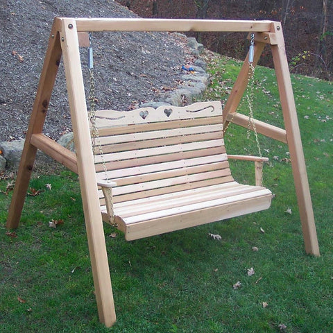 Creekvine Designs - Creekvine Designs, Cedar Royal Country Hearts Porch Swing w/Stand - 4 Foot Swing with Stand - Outdoor Living  - Yard Outlet