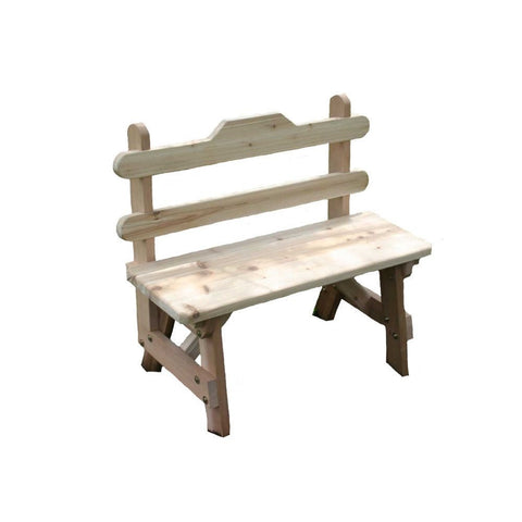 Creekvine Designs - Creekvine Designs, Cedar Tab Back Bench - 3 Foot Bench - Outdoor Living  - Yard Outlet - 1