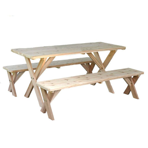 "Creekvine Designs - Creekvine Designs, Red Cedar 27"" Wide Backyard Bash Cross Legged Picnic Table w/ Detached Benches - 10 Foot Table with (4) 5 Foot Benches - Outdoor Living  - Yard Outlet"