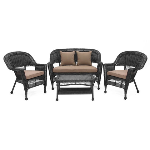 Jeco - Jeco, 4 Piece Black Wicker Conversation Set with Cushions - Coca Brown - Outdoor Living  - Yard Outlet - 1
