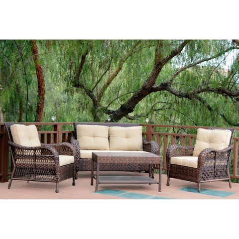 Jeco, 4 Piece Cromwell Wicker Conversation Set with Cushions - Jeco