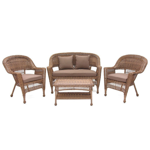 Jeco - Jeco, 4 Piece Honey Wicker Conversation Set with Cushions - Coca Brown - Outdoor Living  - Yard Outlet - 1