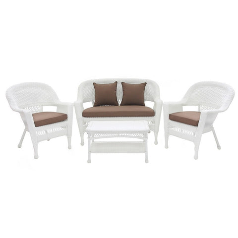 Jeco, 4 Piece White Wicker Conversation Set with Cushions - Jeco