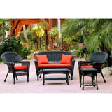 Jeco, 5 Piece Black Wicker Conversation Set - Jeco