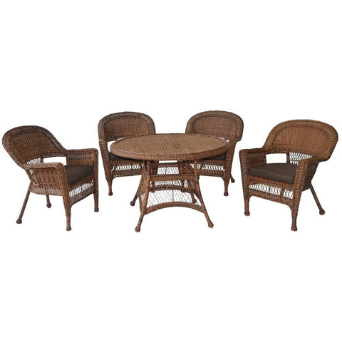 Jeco - Jeco, 5 Piece Honey Wicker Dining Set - Brown Cushions - Outdoor Living  - Yard Outlet - 1