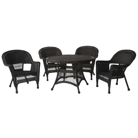 Jeco - Jeco, 5 Piece Wicker Dining Set - Espresso - Outdoor Living  - Yard Outlet - 1