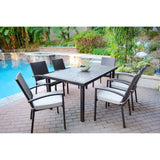 Jeco - Jeco, 7 Piece Espresso Wicker Dining Set - Tan Cushions - Outdoor Living  - Yard Outlet - 1