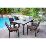 Jeco - Jeco, 7 Piece Espresso Wicker Dining Set - Brown Cushions - Outdoor Living  - Yard Outlet - 2