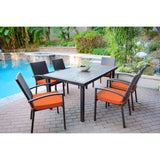 Jeco - Jeco, 7 Piece Espresso Wicker Dining Set - Orange Cushions - Outdoor Living  - Yard Outlet - 3