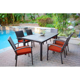 Jeco - Jeco, 7 Piece Espresso Wicker Dining Set - Red Cushions - Outdoor Living  - Yard Outlet - 4