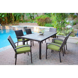 Jeco - Jeco, 7 Piece Espresso Wicker Dining Set - Green Cushions - Outdoor Living  - Yard Outlet - 5