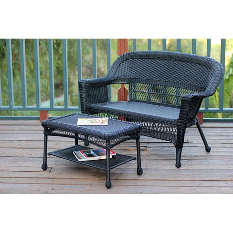 Jeco, Black Wicker Patio Love Seat and Coffee Table Set - Jeco