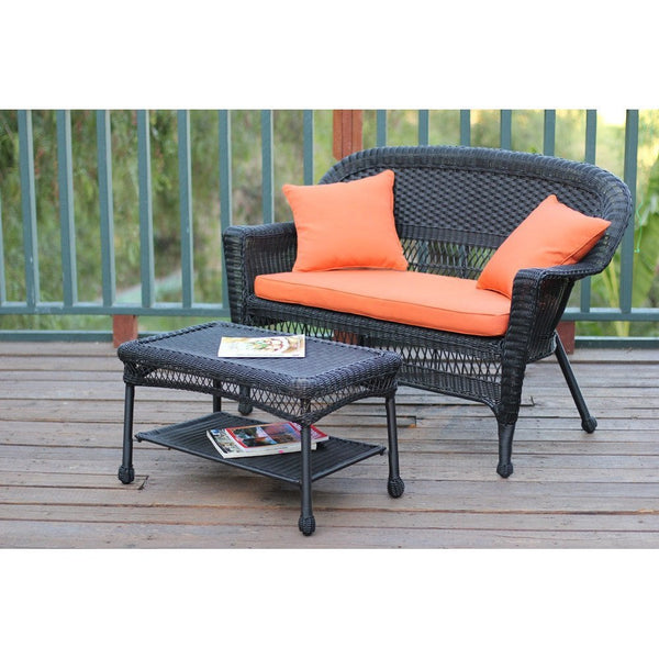 Black Wicker Coffee Table: Jeco, Black Wicker Patio Love Seat And Coffee Table Set