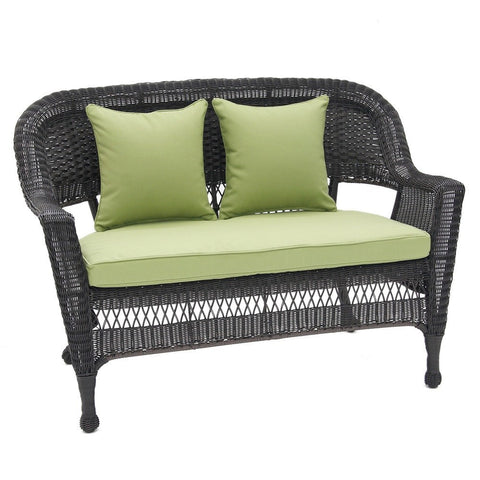 Jeco, Black Wicker Patio Love Seat with Cushion and Pillows - Jeco