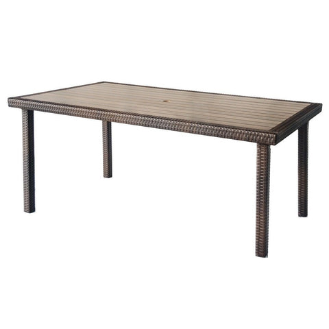 Jeco, Espresso Wicker Dining Table - Jeco