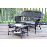 Jeco - Jeco, Espresso Wicker Patio Love Seat and Coffee Table Set - No Cushions - Outdoor Living  - Yard Outlet - 1
