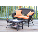 Jeco - Jeco, Espresso Wicker Patio Love Seat and Coffee Table Set - Orange Cushions - Outdoor Living  - Yard Outlet - 2