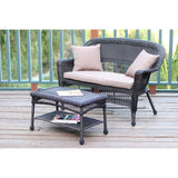 Jeco - Jeco, Espresso Wicker Patio Love Seat and Coffee Table Set - Brown Cushions - Outdoor Living  - Yard Outlet - 3
