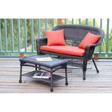 Jeco - Jeco, Espresso Wicker Patio Love Seat and Coffee Table Set - Red Orange Cushions - Outdoor Living  - Yard Outlet - 4