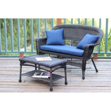 Jeco - Jeco, Espresso Wicker Patio Love Seat and Coffee Table Set - Blue Cushions - Outdoor Living  - Yard Outlet - 5