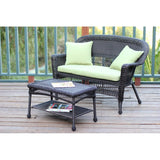 Jeco - Jeco, Espresso Wicker Patio Love Seat and Coffee Table Set - Green Cushions - Outdoor Living  - Yard Outlet - 6
