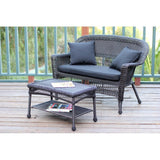 Jeco - Jeco, Espresso Wicker Patio Love Seat and Coffee Table Set - Black Cushions - Outdoor Living  - Yard Outlet - 7