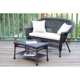 Jeco - Jeco, Espresso Wicker Patio Love Seat and Coffee Table Set - Tan Cushions - Outdoor Living  - Yard Outlet - 8
