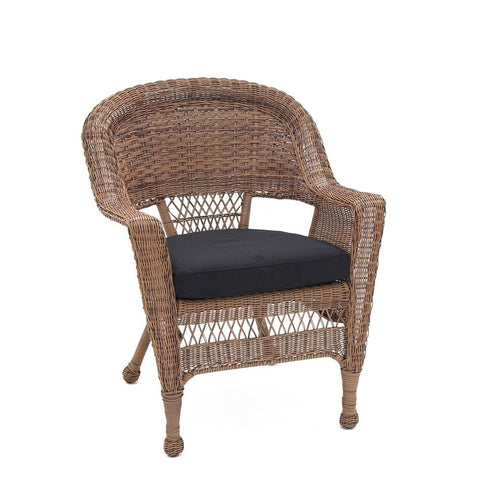 Jeco, Honey Wicker Chair with Cushion - Jeco