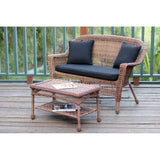 Jeco, Honey Wicker Patio Love Seat and Coffee Table Set - Jeco