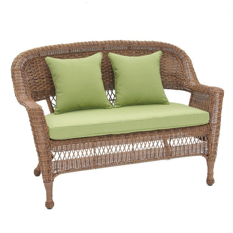 Jeco, Honey Wicker Patio Love Seat with Cushion and Pillows - Jeco