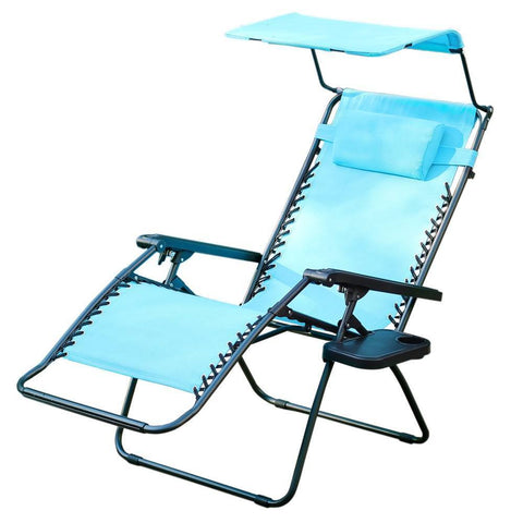 Jeco - Jeco, Oversized Zero Gravity Chair with Sunshade and Drink Tray - Pacific Blue - Outdoor Living  - Yard Outlet - 1