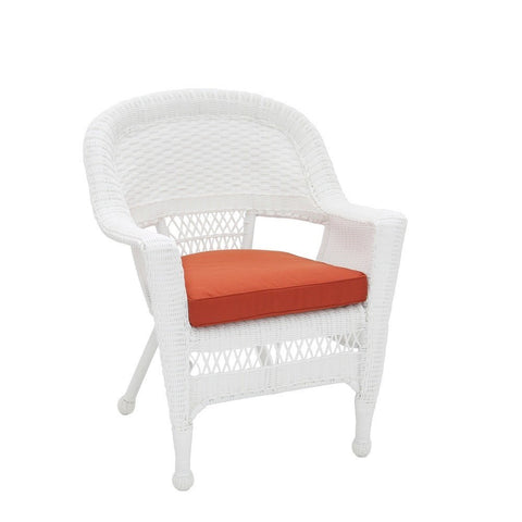 Jeco, Set of 2 White Wicker Chair with Cushion - Jeco
