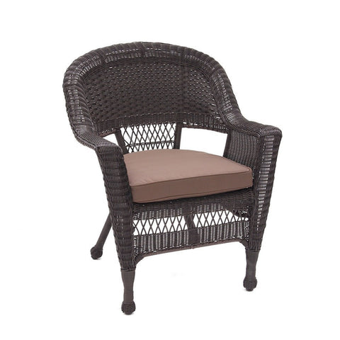 Jeco - Jeco, Set of 4 Espresso Wicker Chair with Cushion - Brown - Outdoor Living  - Yard Outlet - 2