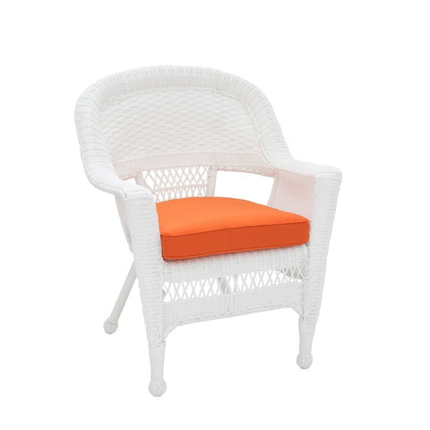Jeco, Set of 4 White Wicker Chair with Cushion - Jeco