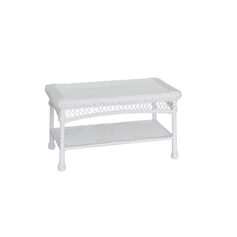 Jeco, White Wicker Patio Furniture Coffee Table - Jeco