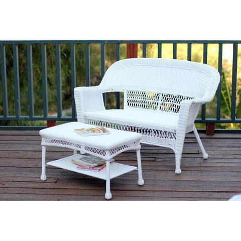 Jeco, White Wicker Patio Love Seat and Coffee Table Set - Jeco