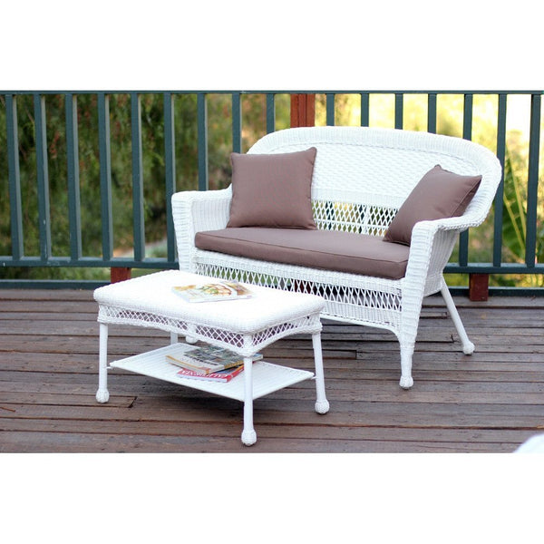 Jeco White Wicker Patio Love Seat And Coffee Table Set Yard Outlet