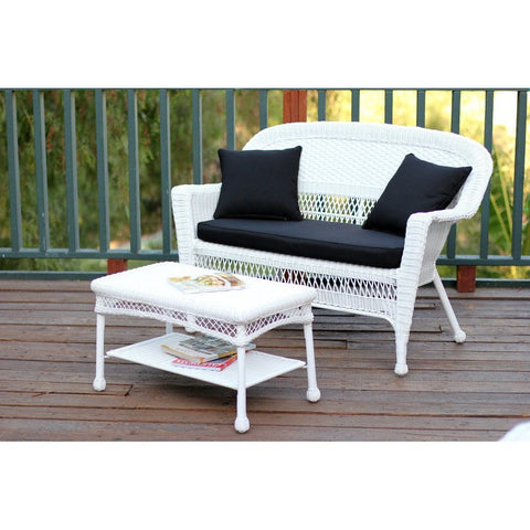 ... Jeco, White Wicker Patio Love Seat And Coffee Table Set   Jeco ...