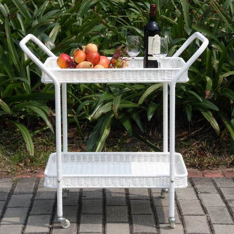 Jeco Wicker Patio Serving Cart Yard Outlet