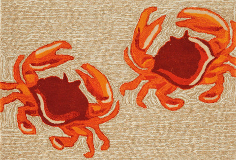 Liora Manne - Indoor and Outdoor Frontporch Crabs Natural Rug 1404/12 - Liora Manne