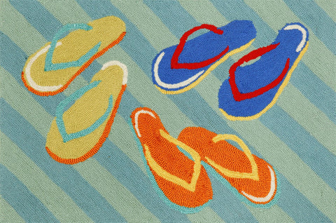 Liora Manne - Indoor and Outdoor Frontporch Flip Flops Blue Rug 1405/03 - Liora Manne